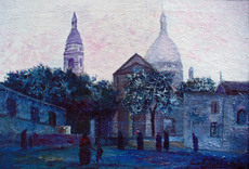 Jean Hubert VILLERS - Pintura - MONTMARTRE LE SOIR LA PLACE SAINT PIERRE ANIMEE