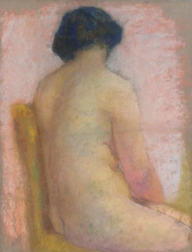 "Lucien LÉVY-DHURMER - Drawing-Watercolor - ""Nu de dos"""