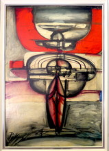 Franz PRIKING - Painting - Abstraction rouge