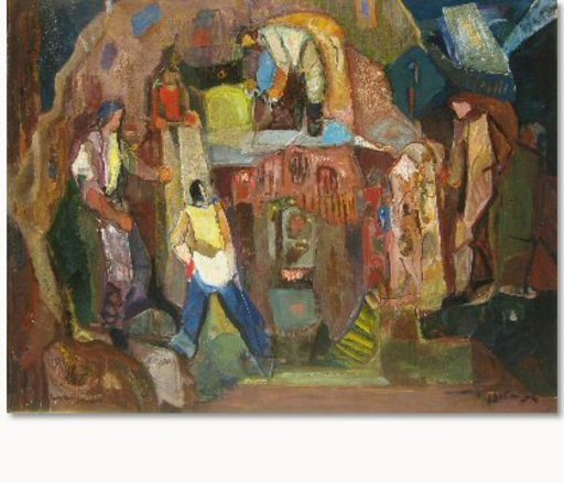 Mordechai LEVANON - Painting - Quarry Men