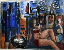 Marcel GROMAIRE - Dibujo Acuarela - trois baigneuses et le pêcheur