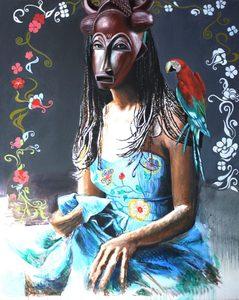 Nathalie BIBOUGOU - Painting - « La Demoiselle d'Avignon »