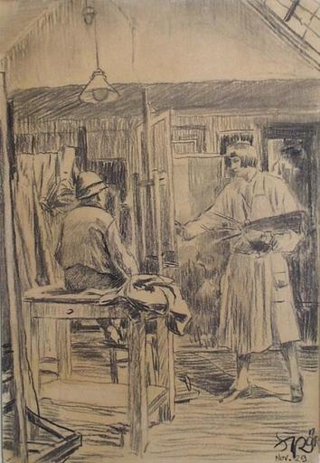 """Paul STRÖR - Disegno Acquarello - """"In Studio"""", 1929"""