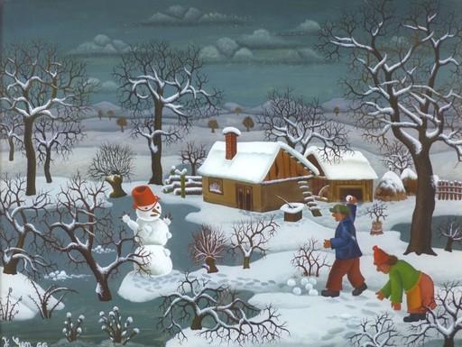 Josip GENERALIC - Peinture - Winterlandschaft , Hinterglasmalerei, Naive Kunst