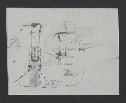Pino PASCALI - Zeichnung Aquarell - Zorro