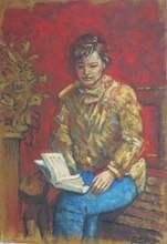 Carlos ESTEBAN - Painting - Lectrice fond rouge    (Cat N° 3178)