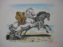 乔治•德•基里科 - 版画 - cavalli sulla spiaggia