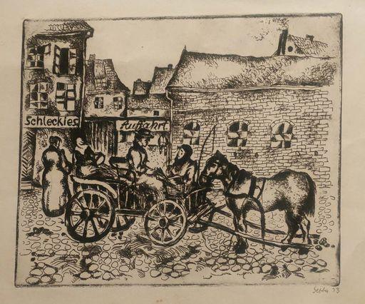 Shalom Siegfried SEBBA - Print-Multiple - Street scene with Carriage