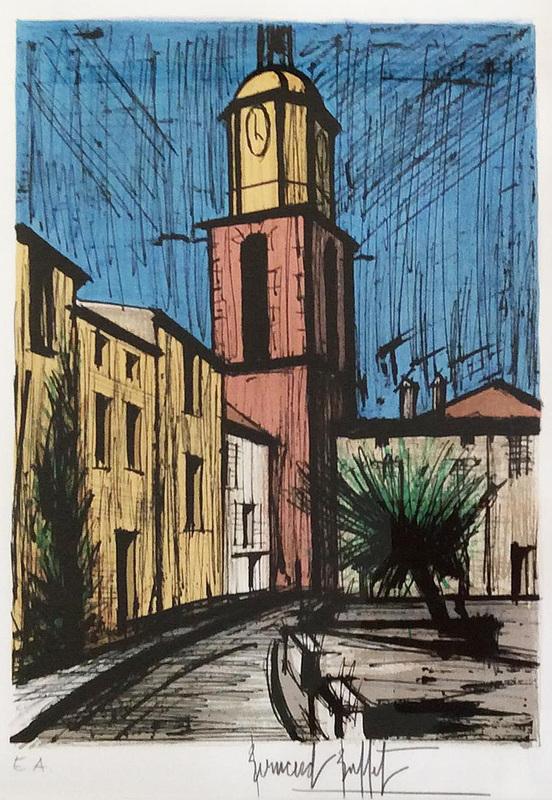 Bernard BUFFET - Print-Multiple - Le clocher et la place de l'Ormeau