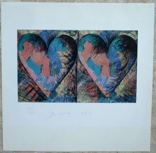 Jim DINE - Grabado - Louisiana Hearts