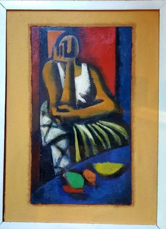 Walter KLOSE - Peinture - FEMME  PENSIVE ASSISE