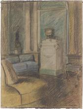 "Anton Hans KARLINSKY - Dibujo Acuarela - ""Interior"", Drawing, 1920s"