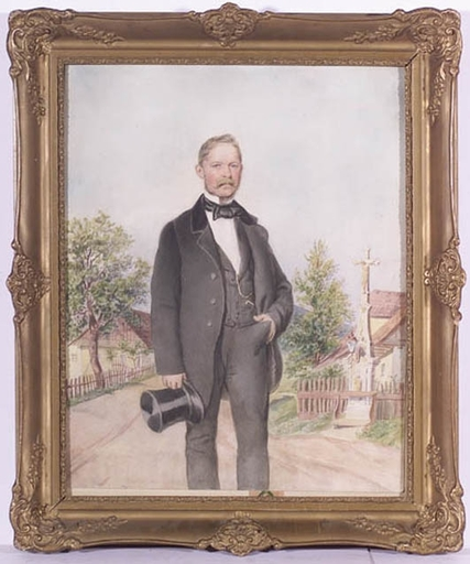 "Carl GOEBEL - Drawing-Watercolor - ""Male Portrait"" by Carl Goebel, ca 1850"