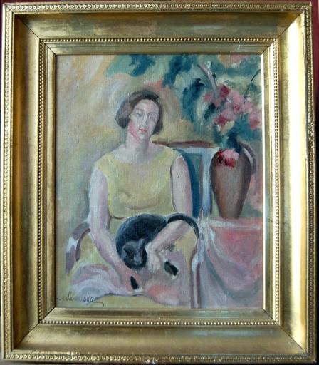 Sonia LEWITSKA - Painting - femme au chat