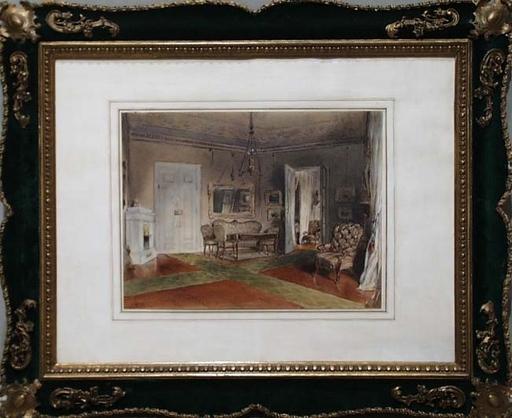"""August Ritter VON PETTENKOFEN - Disegno Acquarello - """"Interior"""" by August Xaver von Pettenkofen"""
