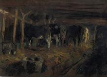 Willem DE ZWART - Dessin-Aquarelle - L'étable à vaches