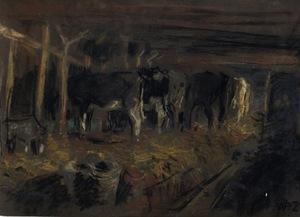 Willem DE ZWART - Dibujo Acuarela - L'étable à vaches