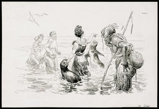Heinrich KLEY - Dessin-Aquarelle - Im Seebad
