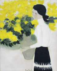 André BRASILIER - Painting - Chantal au bouquet jaune