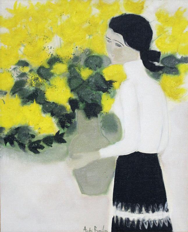 安德烈·布拉吉利 - 绘画 - Chantal au bouquet jaune