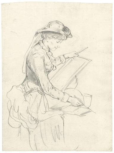 Paul Friedrich MEYERHEIM - Drawing-Watercolor - Junge Malerin mit Zeichenblock beim Aquarellieren.