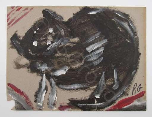René GERTSCH - Peinture - Katze am Mauseloch / Kleiner Esel (2)