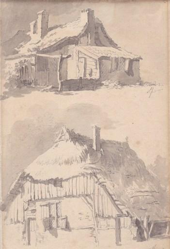 Johannes Huibert PRINS - Dibujo Acuarela - Chaumières