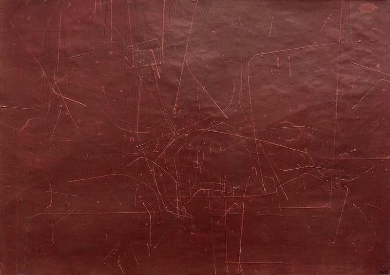 Luis FEITO LOPEZ - Painting - Komposition en rojo