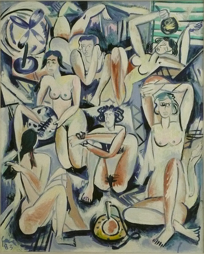 Louis CANE - Painting - Hommage aux femmes d'Alger de Delacroix
