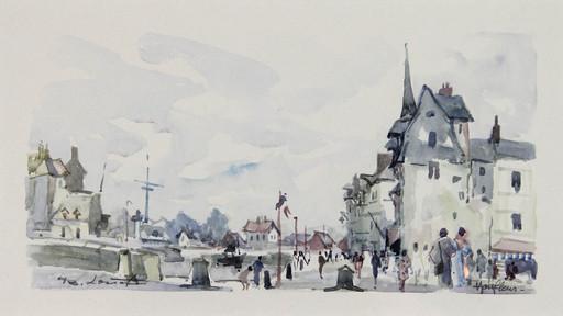 Bernard LORIOT - Disegno Acquarello - Honfleur