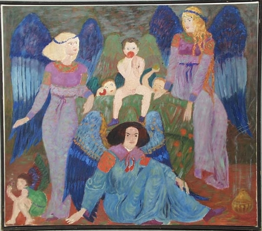"Gertrud HONZATKO-MEDIZ - Peinture - ""Innocence"" by Gertrude Hozatko-Mediz, ca 1920"