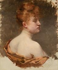 Albert BESNARD - Painting - Portrait d'une jeune femme rousse