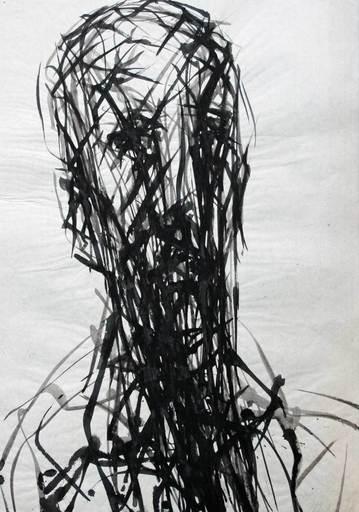 Max UHLIG - Dibujo Acuarela - Kopf eines jungen Mannes nach rechts