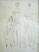 Georges KARS - Drawing-Watercolor - Two Women and a Girl