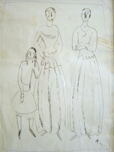 Georges KARS - Dibujo Acuarela - Two Women and a Girl
