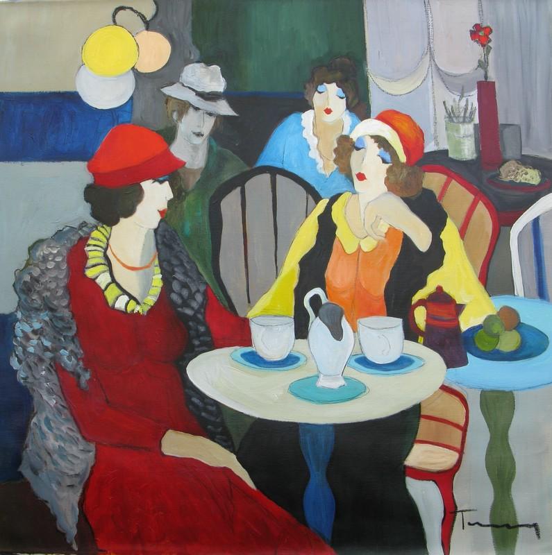 Isaac TARKAY - Painting - * Meeting at the Cafe