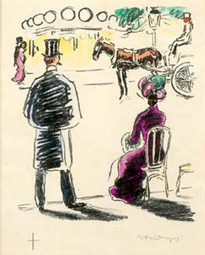 Kees VAN DONGEN - Disegno Acquarello - Champs Elysees