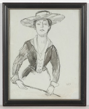 "Emil ORLIK - Dibujo Acuarela - ""Portrait of a lady"", drawing, 1910s"