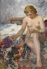 Henri Baptiste LEBASQUE - Painting - Nu au collier de perles