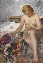 Henri Baptiste LEBASQUE - Pintura - Nu au collier de perles