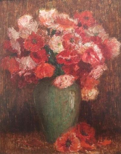 Alphonse II VAN BEURDEN - Pintura - Red flowers (ca.1912)