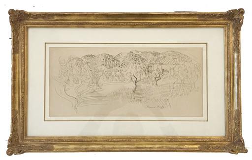 Raoul DUFY - Disegno Acquarello - Saint Paul de Vence (c. 1925)