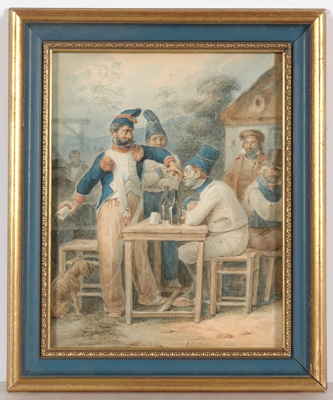 "Hippolyte BELLANGÉ - Drawing-Watercolor - ""Quarrel"", 1823, Watercolor"
