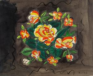 Raoul DUFY - Disegno Acquarello - Bouquet de Fleurs