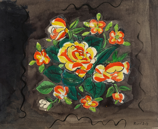 Raoul DUFY - Zeichnung Aquarell - Bouquet de Fleurs