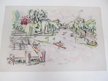 Ivo HAUPTMANN - Dibujo Acuarela - Ruderboote auf der Alster