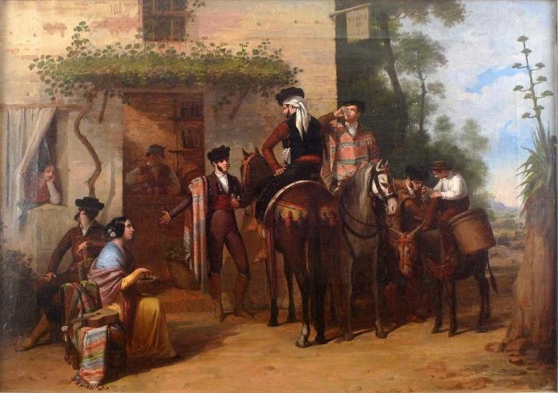 Joaquín DOMINGUEZ BÉCQUER - Gemälde - Outside The Tavern