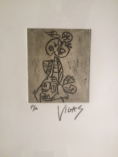 Oswaldo VIGAS - Estampe-Multiple - Personaje Vegetal (Motivo del Año 1956)