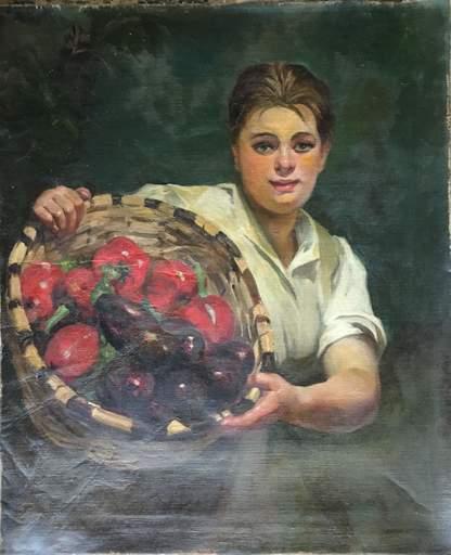 Julio VILA Y PRADES - 绘画 - Chica con frutas