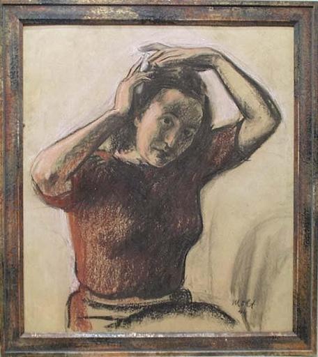 """Franz MOLT - Dessin-Aquarelle - """"Female Portrait"""", Pastel, 1944"""